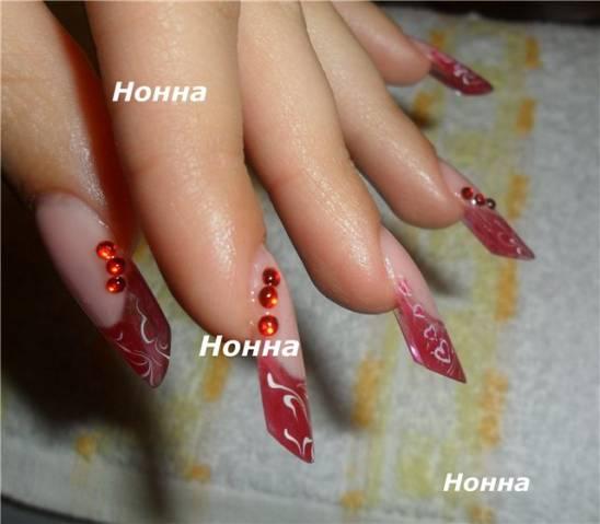 наращивание ногтей форма пайп